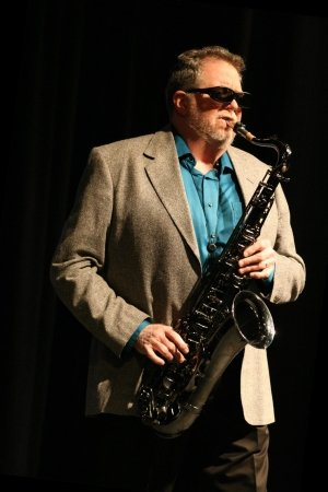 Michael Byington, playing the saxophone at a gig.