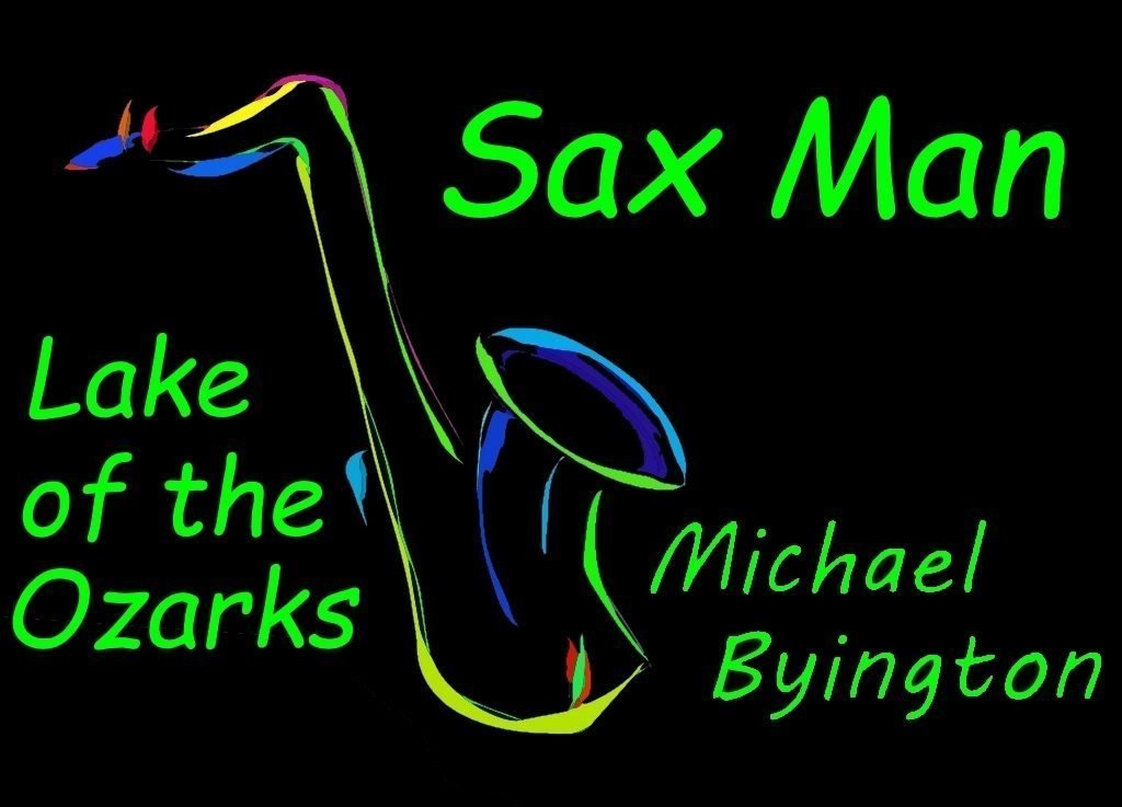 Artwork logo displaying a saxophone with the words Sax Man, Michael Byington